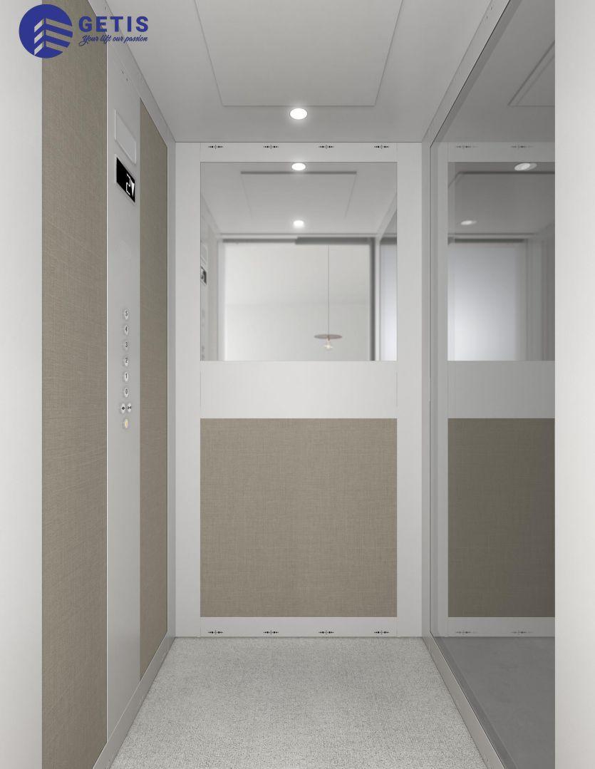 Mẫu thang máy gia đình kết hợp với thiết kế đầy sáng tạo, sang trọng.
