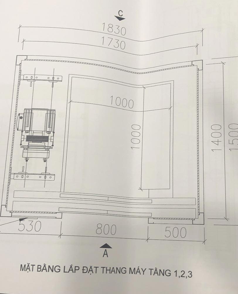 Bản đồ thiết kế thang máy getis vinhomes