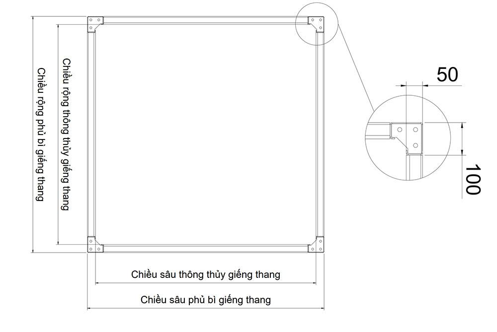 Bản thông số khung thép thang máy gia đình 5cm