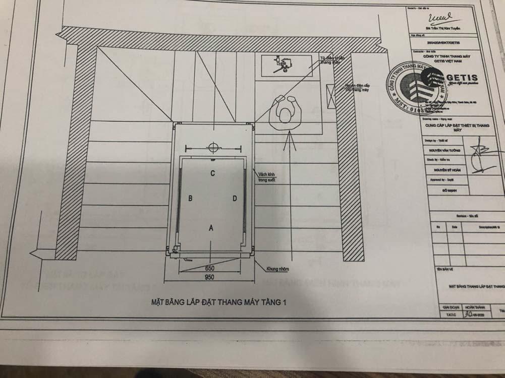 Bản vẽ thiết kế thang máy gia đình getis tại Ciputra