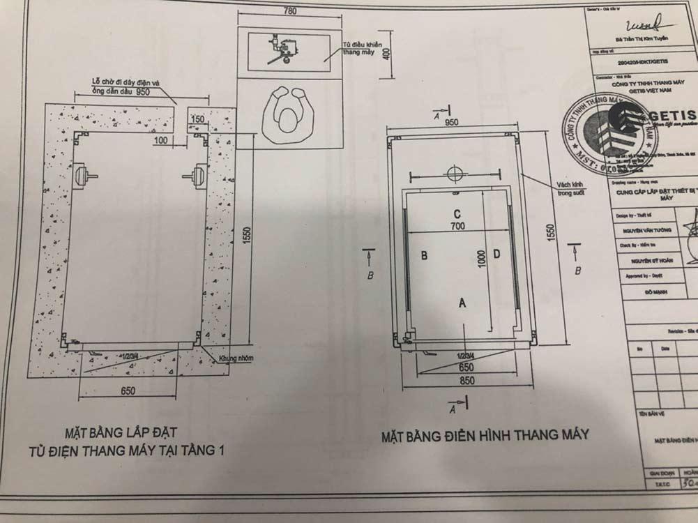 Bản vẽ thang máy gia đình tại dự án Ciputra