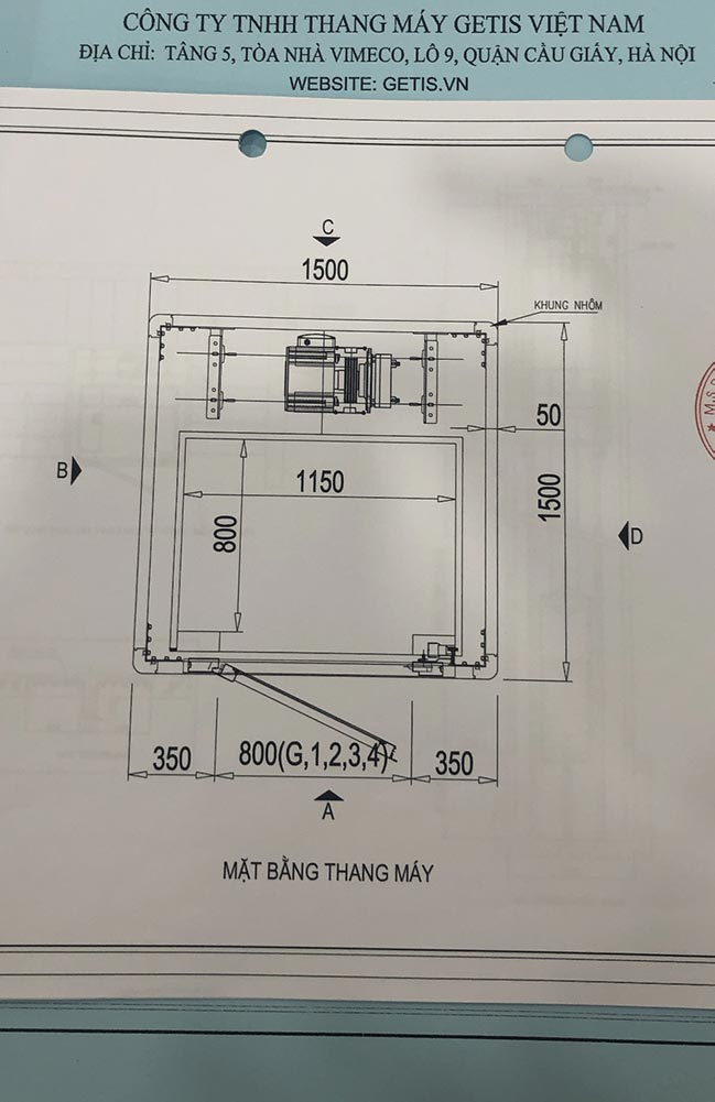 Bản vẽ thiết kế thang máy gia đình getis