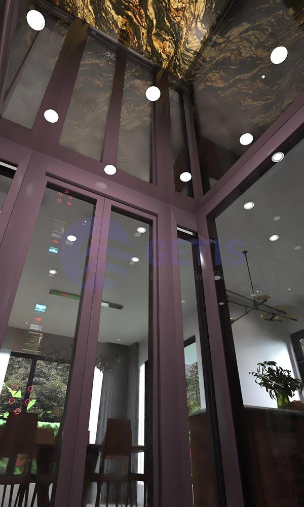vách cabin kính thang máy tại dự án ở Công ty Đại Phát